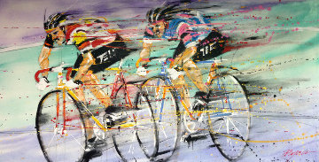 Untitled (bicyclists) 1989 36x72 Original Painting - Michael Bryan