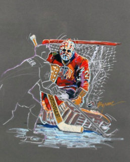 Great Save Drawing 1991 (Hockey) 35x29 Works on Paper (not prints) - Michael Bryan
