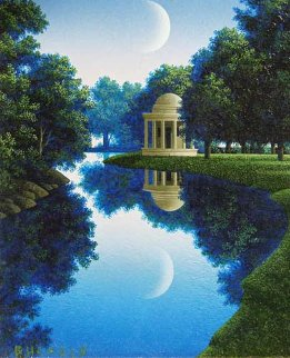 Dome and Moon, Study: Temples and Idylls II 6x5 Original Painting - Jim Buckels