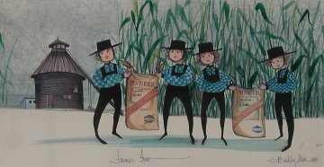Farmers Four Watercolor 1991 19x26 Watercolor - Pat Buckley Moss
