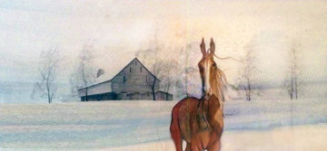 Horse And Barn Watercolor 23x36 Watercolor - Pat Buckley Moss