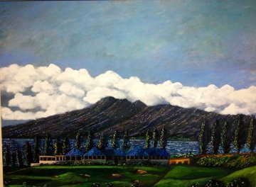 Kapalua Bar and Grill, 18th Fairway 1985 34x42 Original Painting - Guy Buffet