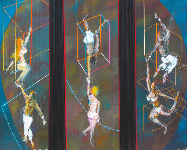 High Trapeze Artists Triptych 90x34