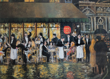 Cafe De La Paix, Paris 37x30 Original Painting - Guy Buffet