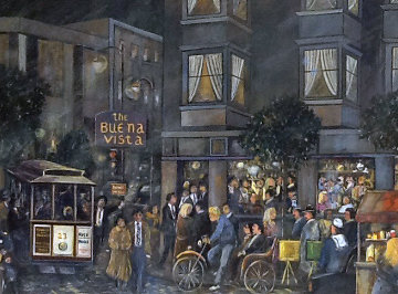 Buena Vista Restaurant 1990 34x43 San Francisco Original Painting - Guy Buffet