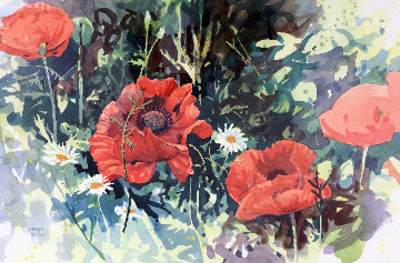 Poppies I Watercolor 1986 34x28 Watercolor - Simon Bull