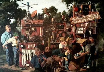 Incredible Shrinking Machine 1997 48x60 Original Painting - Bob Byerley