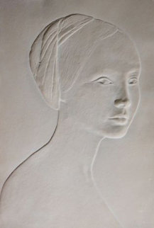 Portrait of a Young Girl Cast Paper Bas Relief Sculpture 1985 Sculpture - Dario Campanile