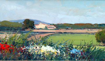 Summer Lanscape 9x40 Original Painting - Rosa Canto