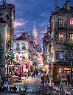 A Stroll in Montmartre 2009 Embellished Limited Edition Print - Cao Yong