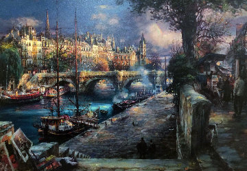 Banks of La Seine Embellished Limited Edition Print - Cao Yong
