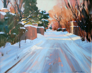 Untitled Winter Landscape 28x24 Original Painting - Howard Carr