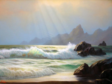 Seascape 1980 24x36 Original Painting - Anthony Casay