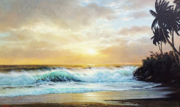 Hawaiian Sunset 1976 36x60 Original Painting - Anthony Casay