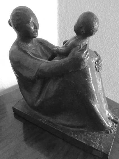 Seated Woman With Child Bronze Sculpture 1989 11 in