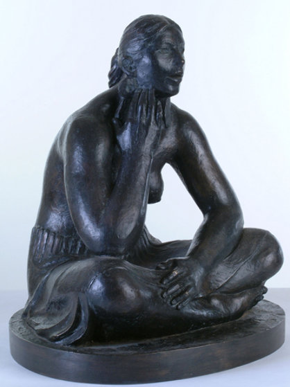 Mujer Con Orejeras (Woman with Earrings) Bronze Sculpture 2007