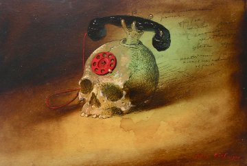 Skull-phone 1999 Original Painting - Genia Chef