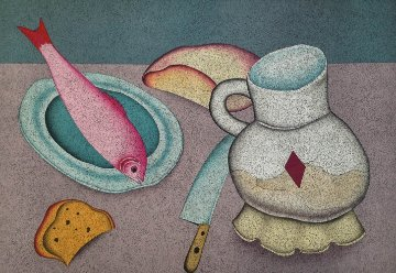 Still Life With Fish And Bread Limited Edition Print - Mihail Chemiakin