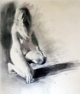 Nude Girl Kneeling 1992 23x17 Works on Paper (not prints) - Chase Chen