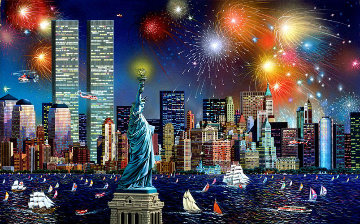 Manhattan Celebration, New York Embellished 1995 Limited Edition Print - Alexander Chen