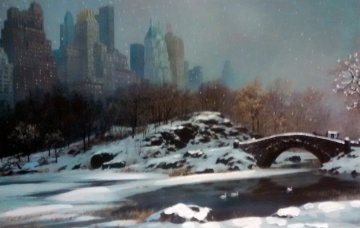 Central Park Bridge Winter, New York 2005 Embellished Limited Edition Print - Alexander Chen