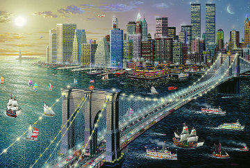 Brooklyn Bridge Embellished New York 2002 Limited Edition Print - Alexander Chen