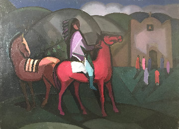 Taos Indian, Two Horses And a Church 30x40 Original Painting - Constantine Cherkas