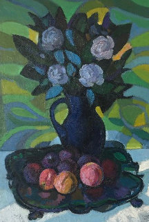 Still Life With Flowers 36x28 Original Painting - Constantine Cherkas
