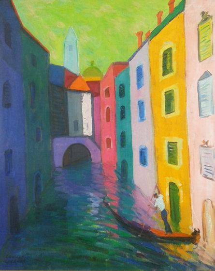A Gondolier And His Canal 36x31