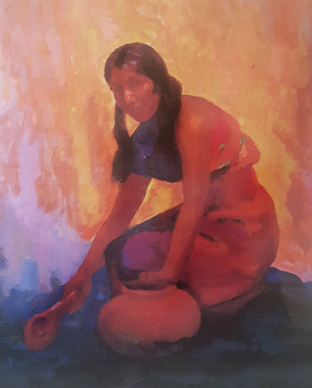 Indian Girl With Pot AP 2004