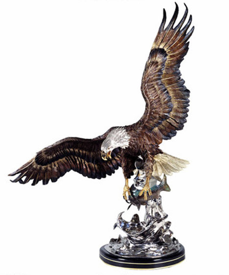 On the Wings of an Eagle Bronze  Sculpture 1991 54 in