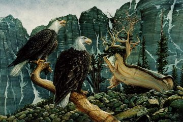 Eagle Cry 1978 32x44 Original Painting - Chester Fields