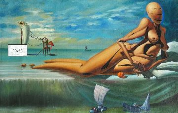 Similarity of Game 1993 35x22 Original Painting - Michael Cheval