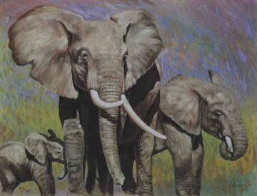 Elephant Family 1989 Limited Edition Print - Charles Bragg (Chick Bragg)