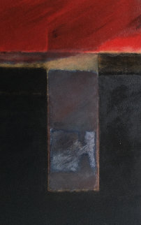 Red, Black  And Colors (Sin Titulo) 1978 72x36 Original Painting - Wilfredo Chiesa