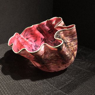 Alizarin Crimson Macchia With Viridian Lip Wrap Glass Sculpture 1983 28 in  Sculpture - Dale Chihuly
