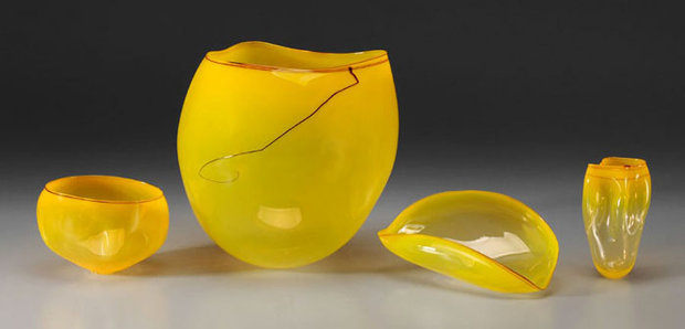 Sun Yellow Basket Set Glass set of 4  Sculptures 2000