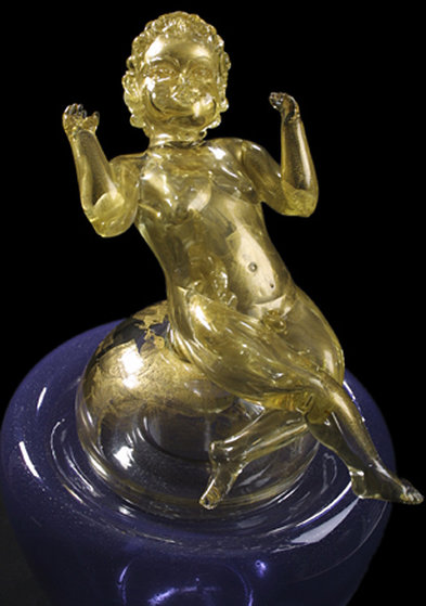 Putti Within a Putti Glass Sculpture 1994  36 inches high