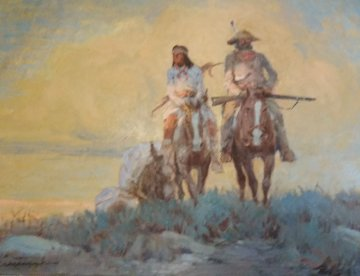 Indian Scout 25x21 Original Painting - Ernest Chiriaka