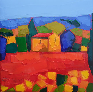Mas Au Champs Rouge (House in a Red Field) 2010 15x15 Original Painting - Didier Chretien
