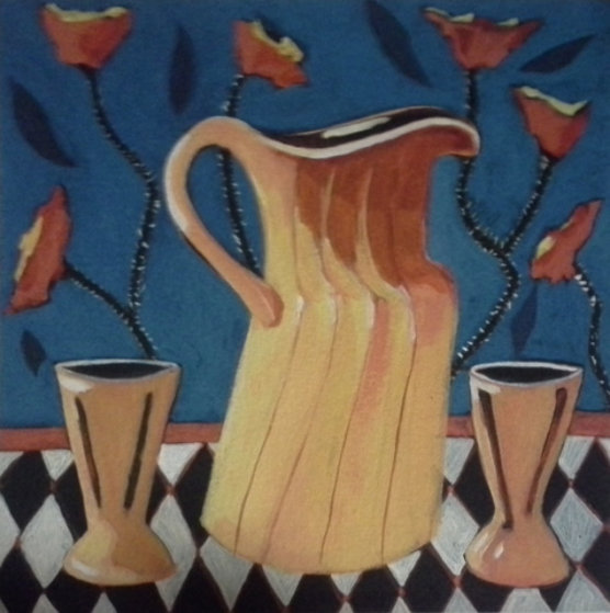 Pitcher With Poppies 2000