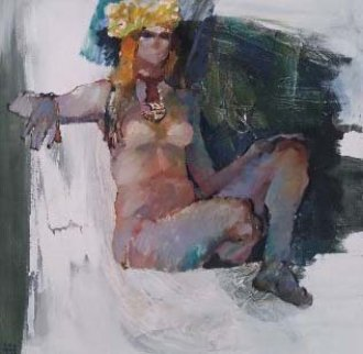 Untitled Nude 1974 36x36 Original Painting - Lau Chun