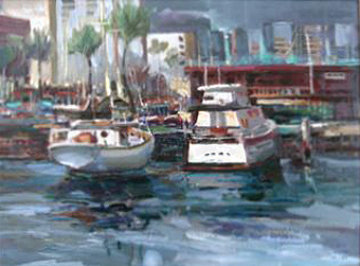 Honolulu Harbor, Hawaii 1981 27x32 Original Painting - Lau Chun