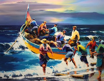 Portuguese Fisherman 42x48 Original Painting - Christian Jequel