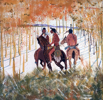 Autum Snowfall Or Three Warriors 1985 40x40 Original Painting - C.J. Wells