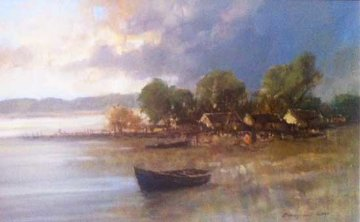 Boat on Shore 26x37 Original Painting - Christiaan  Nice