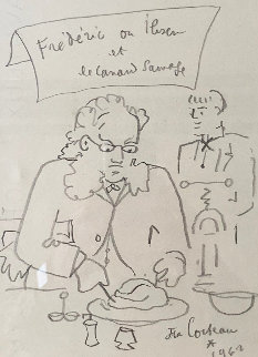 Frederic Ou Ibsen Et Le Canard Sauvage Drawing 1962 10x8 Works on Paper (not prints) - Jean Cocteau