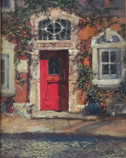 Afternoon Light on the Red Door 2009 29x26 Original Painting - James Coleman