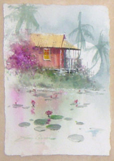 Under the Stone Bridge / A Tropical Pond set of 2 Watercolors 2006 Original Painting - James Coleman