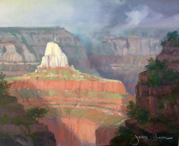 Zoroester Temple, Grand Canyon,  1993 20x24 Utah Original Painting - James Coleman